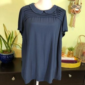 Boden size 18 Peter Pan collar pleated blouse